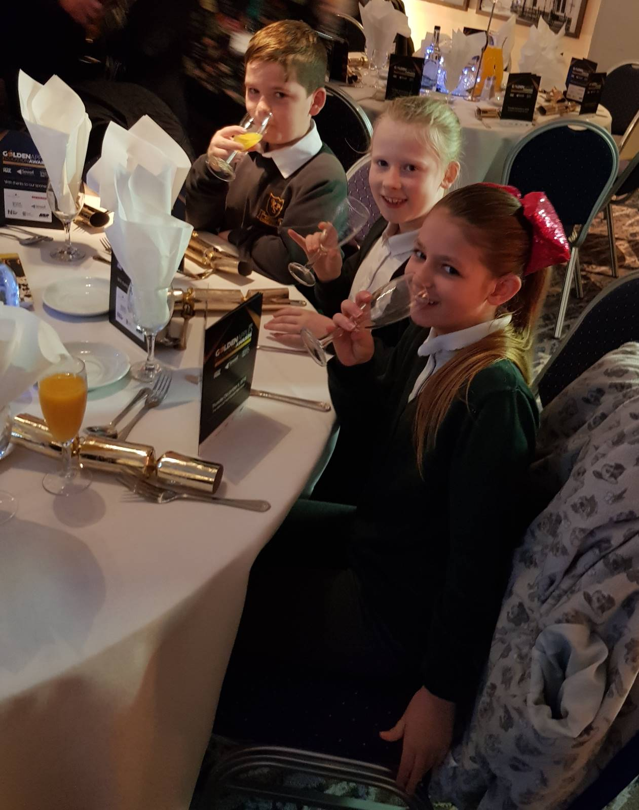 Kingsway pupils eating their celebration lunch at the Golden Apples Education Awards