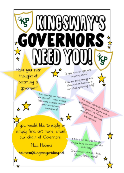 poster asking parents / carers whether they are interested in becoming a school governor